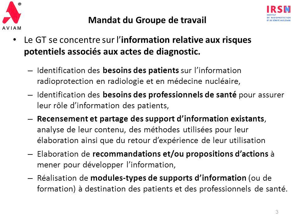 Création du Groupe de Travail : Mars 2010 Composition : – AVIAM – IRSN – Haute Autorité de Santé, – Ligue Contre le Cancer, – Groupe RP de la Société