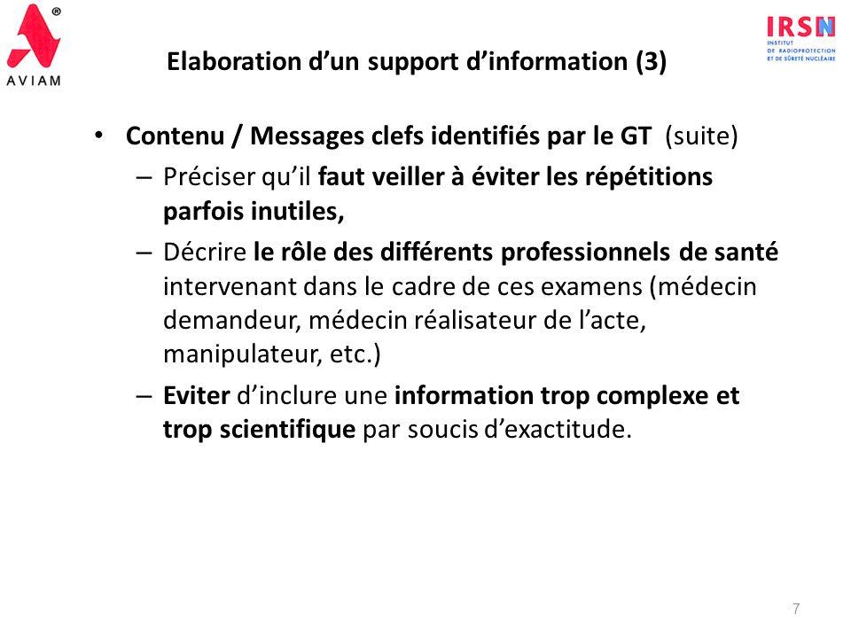 Elaboration dun support dinformation (2) Contenu / Messages clefs identifiés par le GT – Introduire le concept bénéfice/risque : si lexamen est justif
