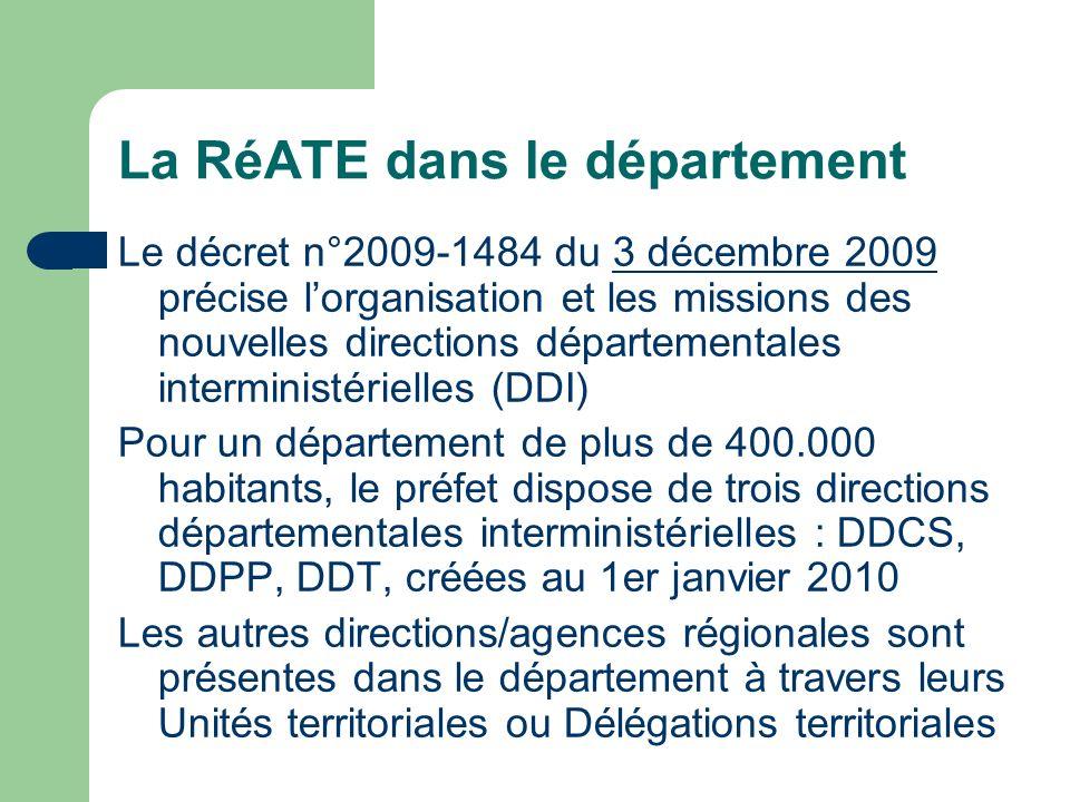 La RéATE dans le département Le décret n°2009-1484 du 3 décembre 2009 précise lorganisation et les missions des nouvelles directions départementales i