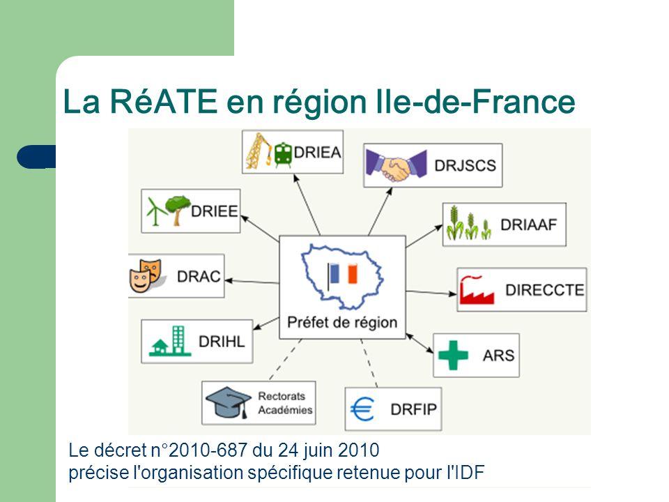 La RéATE en région Ile-de-France Le décret n°2010-687 du 24 juin 2010 précise l'organisation spécifique retenue pour l'IDF
