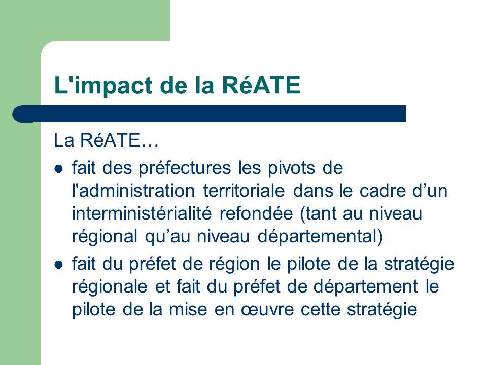 L'impact de la RéATE La RéATE… fait des préfectures les pivots de l'administration territoriale dans le cadre dun interministérialité refondée (tant a