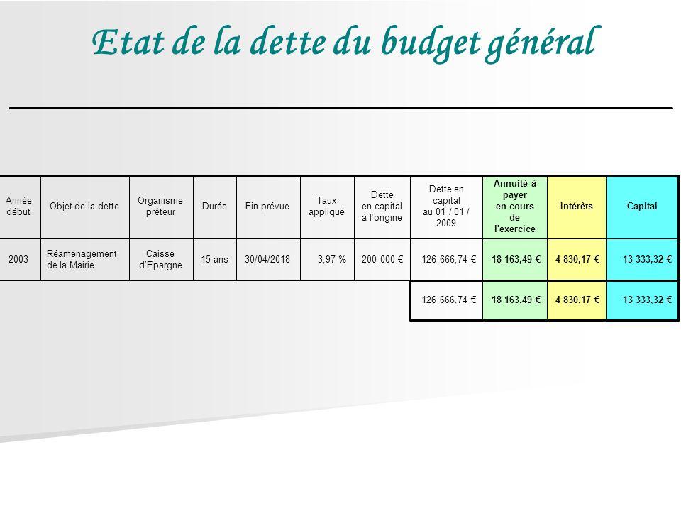 Etat de la dette du budget général 13 333,32 4 830,17 18 163,49 126 666,74 13 333,32 4 830,17 18 163,49 126 666,74 200 000 3,97 %30/04/201815 ans Cais