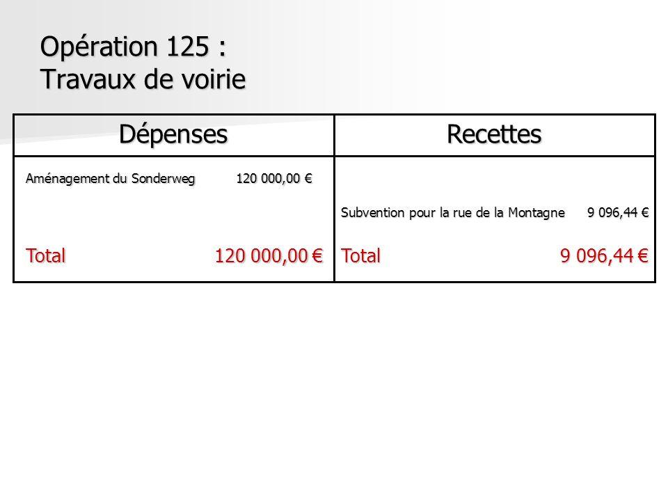 Opération 125 : Travaux de voirie DépensesRecettes Aménagement du Sonderweg120 000,00 Aménagement du Sonderweg120 000,00 Total120 000,00 Total120 000,