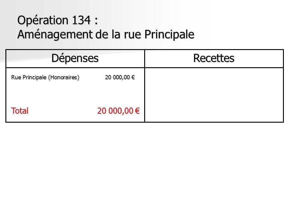 Opération 134 : Aménagement de la rue Principale DépensesRecettes Rue Principale (Honoraires)20 000,00 Rue Principale (Honoraires)20 000,00 Total20 00