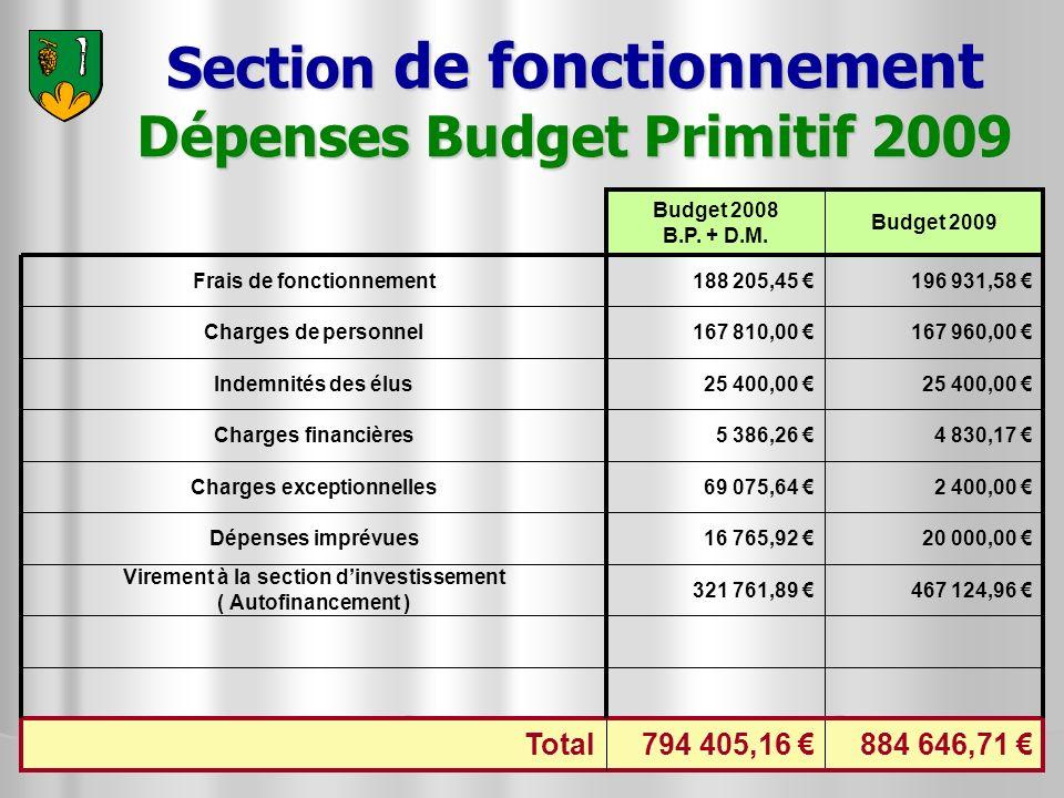 Section de fonctionnement Dépenses Budget Primitif 2009 25 400,00 Indemnités des élus 467 124,96 321 761,89 Virement à la section dinvestissement ( Au