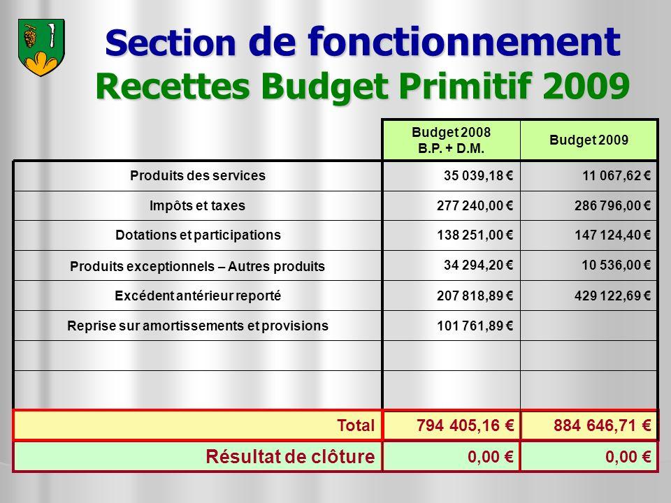 884 646,71 794 405,16 Section de fonctionnement Recettes Budget Primitif 2009 147 124,40 138 251,00 Dotations et participations 101 761,89 Reprise sur