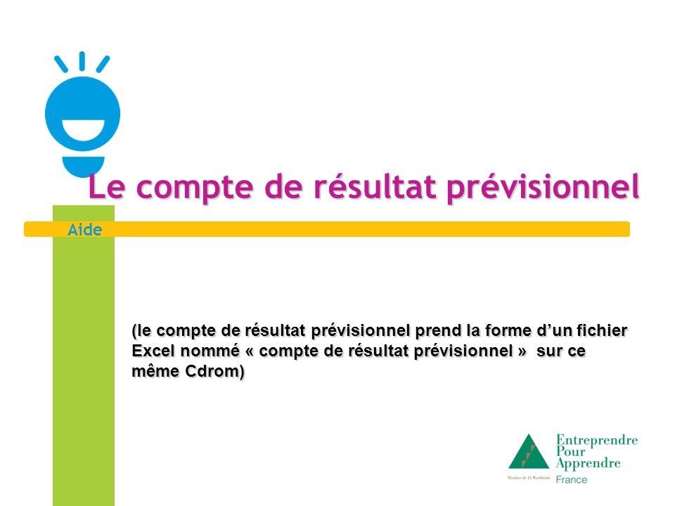 Aide Le compte de résultat prévisionnel (le compte de résultat prévisionnel prend la forme dun fichier Excel nommé « compte de résultat prévisionnel »