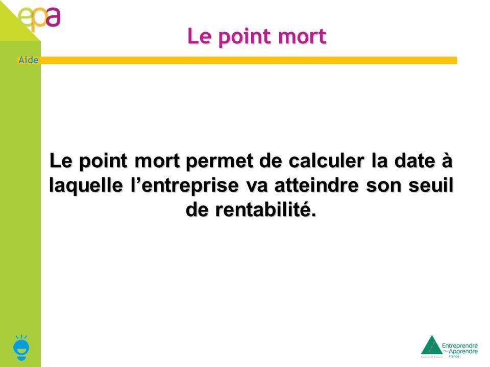 14 Aide Le point mort Le point mort permet de calculer la date à laquelle lentreprise va atteindre son seuil de rentabilité.