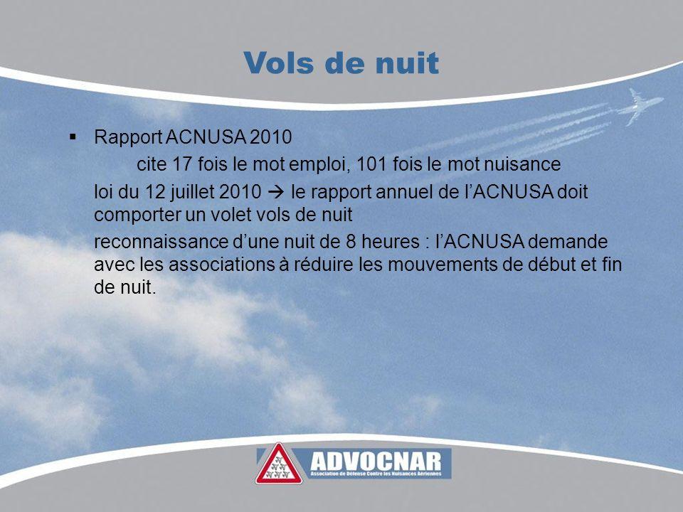 Rapport ACNUSA 2010 cite 17 fois le mot emploi, 101 fois le mot nuisance loi du 12 juillet 2010 le rapport annuel de lACNUSA doit comporter un volet vols de nuit reconnaissance dune nuit de 8 heures : lACNUSA demande avec les associations à réduire les mouvements de début et fin de nuit.