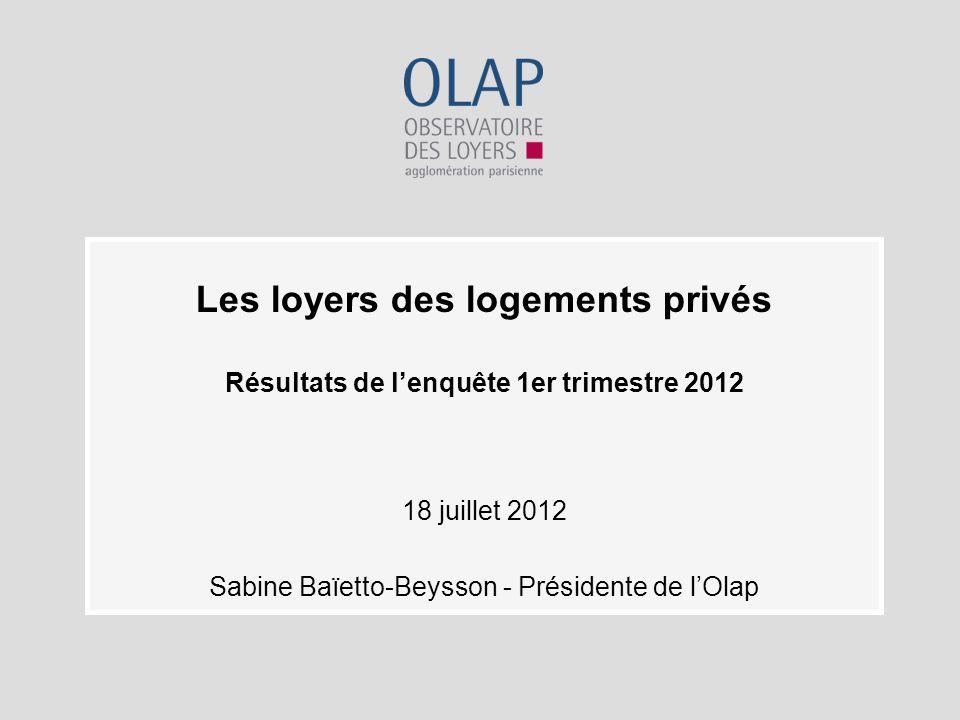 Les loyers des logements privés Résultats de lenquête 1er trimestre 2012 18 juillet 2012 Sabine Baïetto-Beysson - Présidente de lOlap