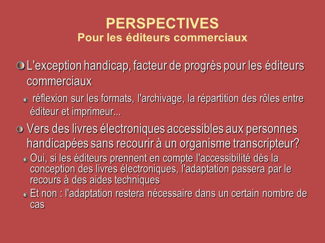PERSPECTIVES Pour les éditeurs commerciaux L exception handicap, facteur de progrès pour les éditeurs commerciaux réflexion sur les formats, l archivage, la répartition des rôles entre éditeur et imprimeur...