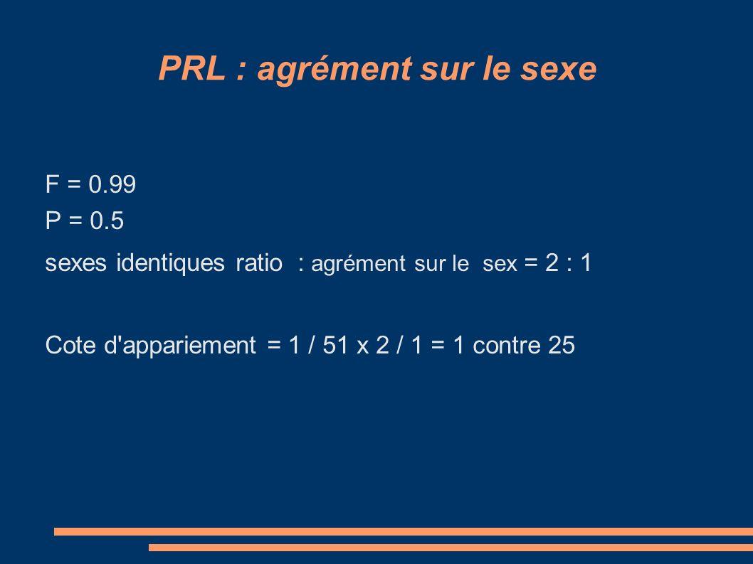 PRL : agrément sur le sexe F = 0.99 P = 0.5 sexes identiques ratio : agrément sur le sex = 2 : 1 Cote d appariement = 1 / 51 x 2 / 1 = 1 contre 25