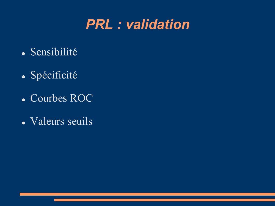 PRL : validation Sensibilité Spécificité Courbes ROC Valeurs seuils