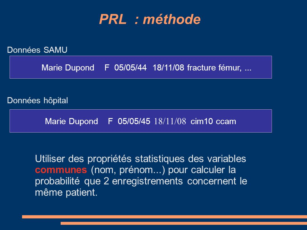 PRL : agrément sur 2 enregistrements Cote = 1 contre 6 3 classes en fonction de valeurs seuils Cote > S1appariement oui Cote < S2appariement non - S2 < cote < S1 appariement ?