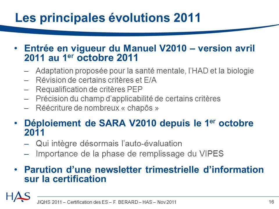 JIQHS 2011 – Certification des ES – F. BERARD – HAS – Nov.2011 16 Les principales évolutions 2011 Entrée en vigueur du Manuel V2010 – version avril 20