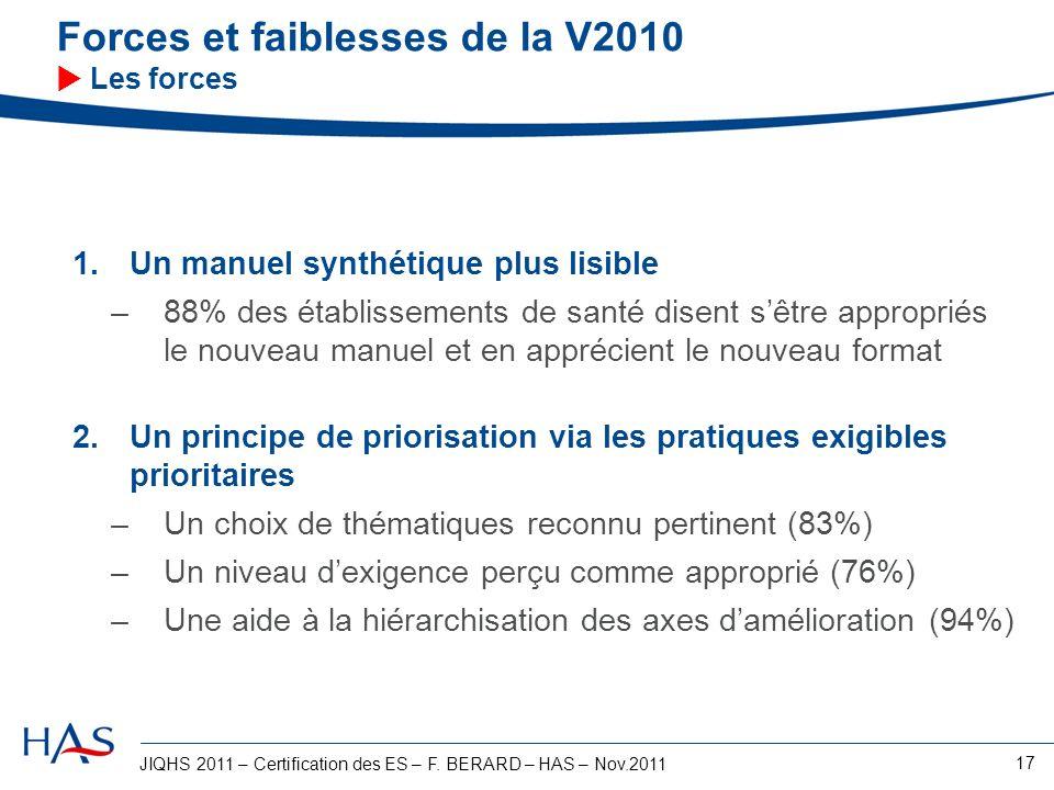 JIQHS 2011 – Certification des ES – F. BERARD – HAS – Nov.2011 17 Forces et faiblesses de la V2010 Les forces 1.Un manuel synthétique plus lisible –88
