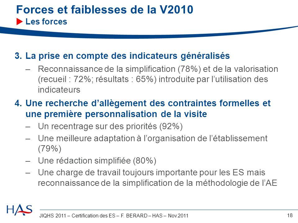 JIQHS 2011 – Certification des ES – F. BERARD – HAS – Nov.2011 18 Forces et faiblesses de la V2010 Les forces 3.La prise en compte des indicateurs gén