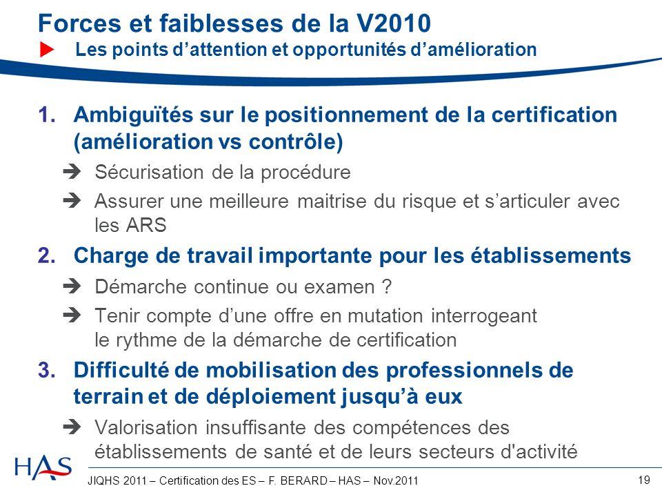 JIQHS 2011 – Certification des ES – F. BERARD – HAS – Nov.2011 19 Forces et faiblesses de la V2010 Les points dattention et opportunités damélioration