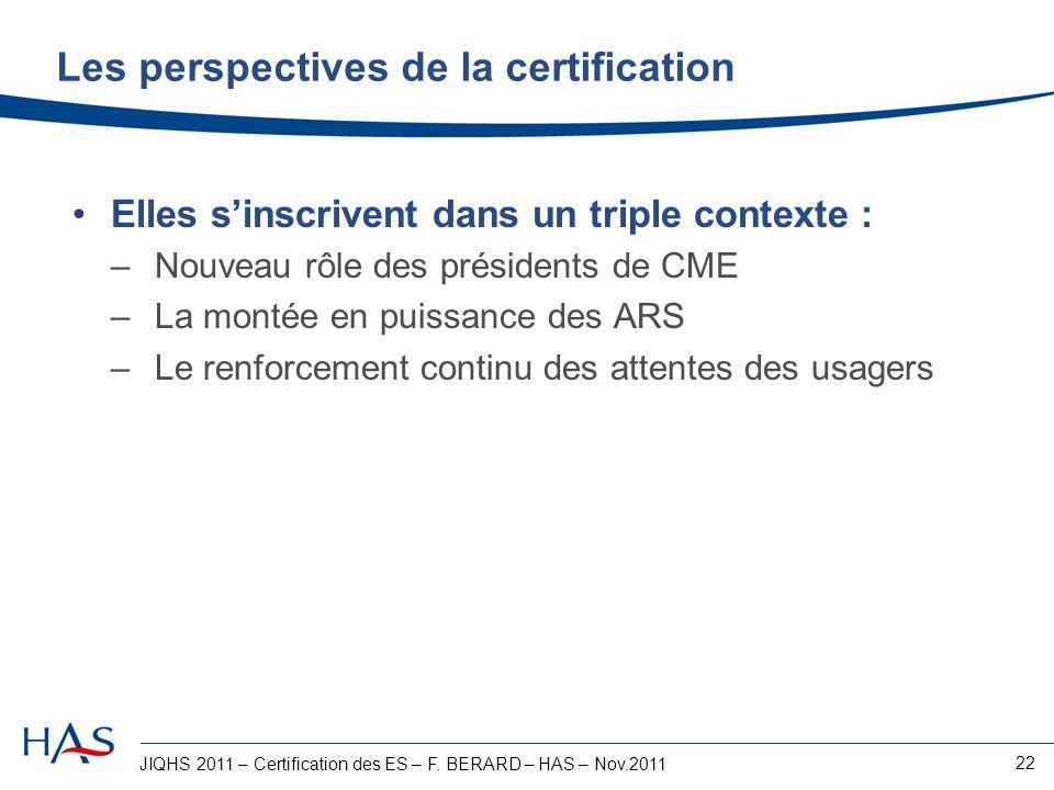 JIQHS 2011 – Certification des ES – F. BERARD – HAS – Nov.2011 22 Les perspectives de la certification Elles sinscrivent dans un triple contexte : –No