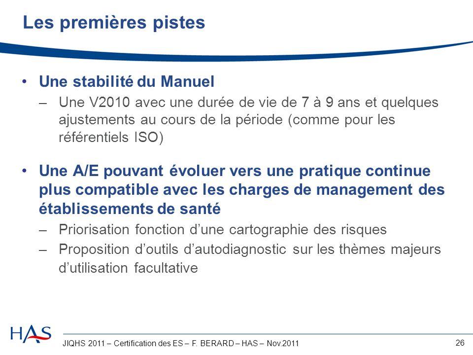 JIQHS 2011 – Certification des ES – F. BERARD – HAS – Nov.2011 26 Les premières pistes Une stabilité du Manuel –Une V2010 avec une durée de vie de 7 à
