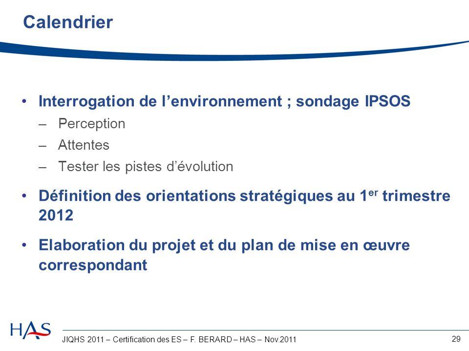 JIQHS 2011 – Certification des ES – F. BERARD – HAS – Nov.2011 29 Calendrier Interrogation de lenvironnement ; sondage IPSOS –Perception –Attentes –Te