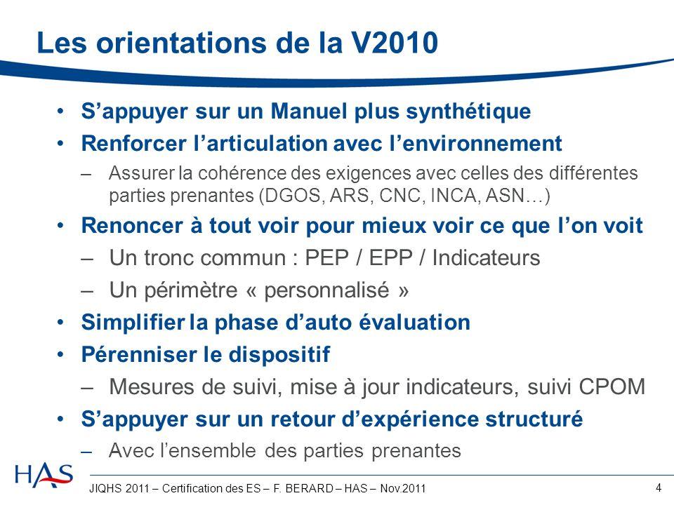 JIQHS 2011 – Certification des ES – F. BERARD – HAS – Nov.2011 4 Les orientations de la V2010 Sappuyer sur un Manuel plus synthétique Renforcer lartic