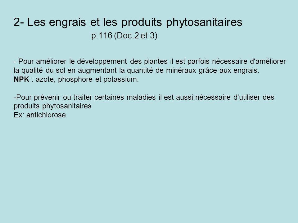 2- Les engrais et les produits phytosanitaires p.116 (Doc.2 et 3) - Pour améliorer le développement des plantes il est parfois nécessaire d'améliorer