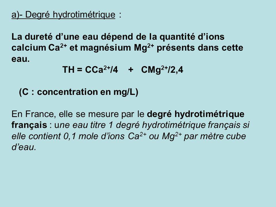 a)- Degré hydrotimétrique : La dureté dune eau dépend de la quantité dions calcium Ca 2+ et magnésium Mg 2+ présents dans cette eau. TH = CCa 2+ /4 +