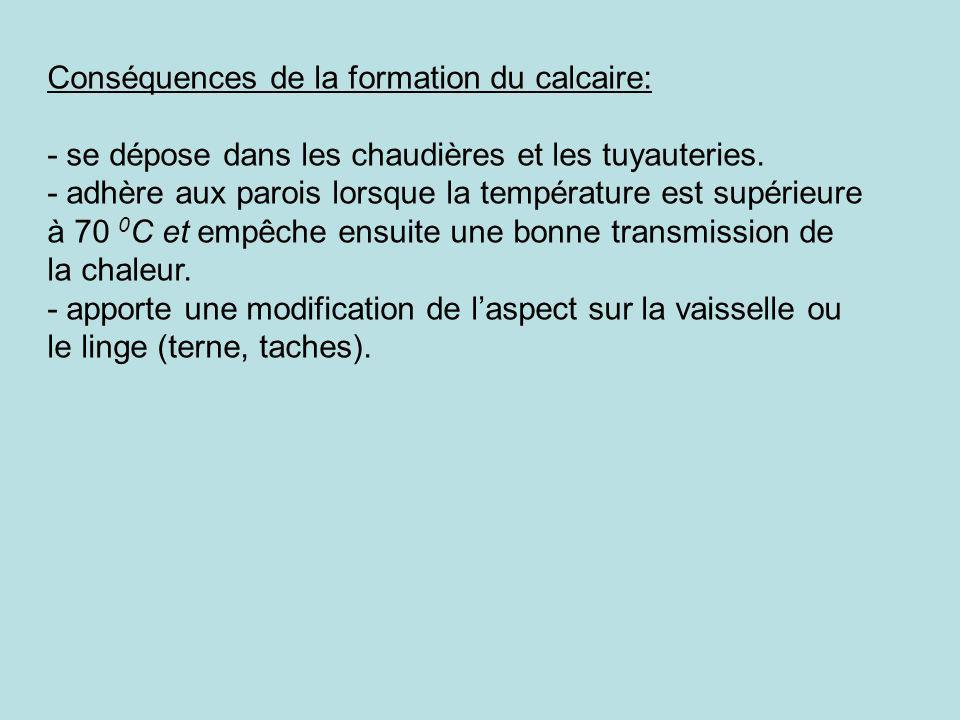 Conséquences de la formation du calcaire: - se dépose dans les chaudières et les tuyauteries. - adhère aux parois lorsque la température est supérieur