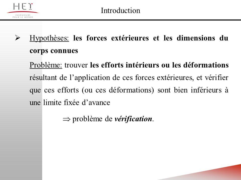 Hypothèses: les forces extérieures et les dimensions du corps connues Problème: trouver les efforts intérieurs ou les déformations résultant de lappli