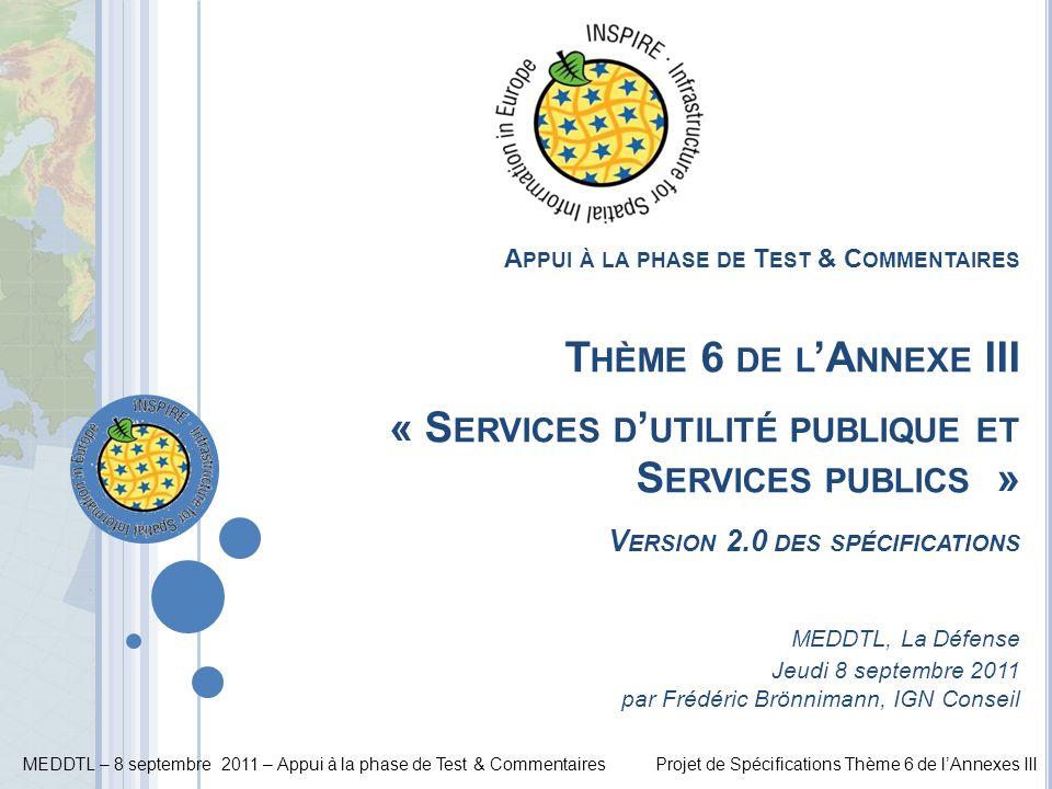 MEDDTL – 8 septembre 2011 – Appui à la phase de Test & CommentairesProjet de Spécifications Thème 6 de lAnnexes III 42 L ISTE DES S ERVICE T YPE V ALUE (6/6)