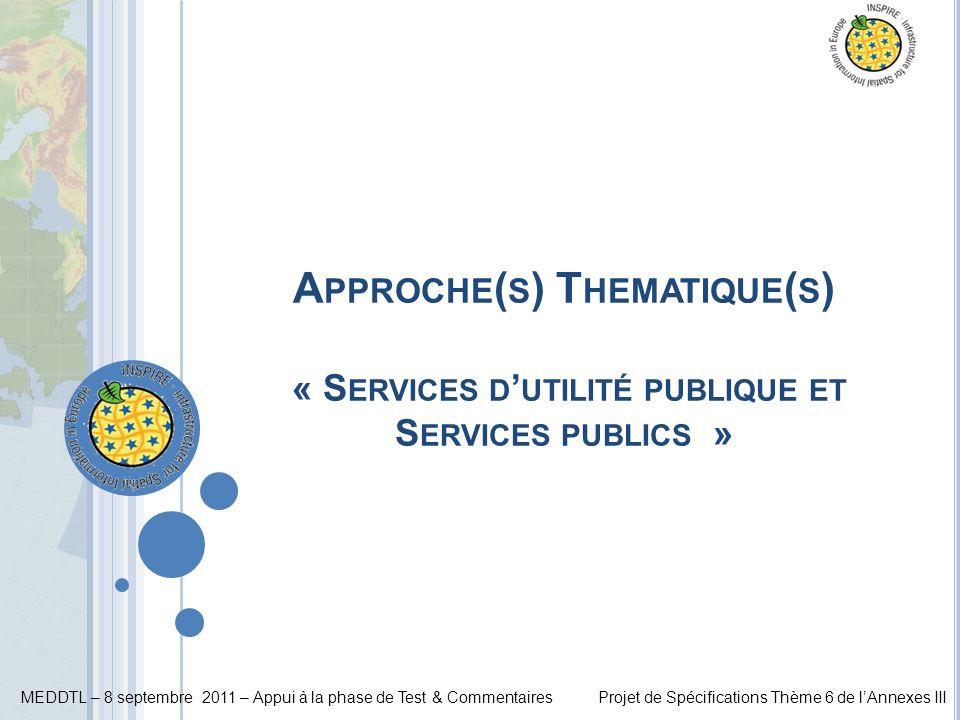 MEDDTL – 8 septembre 2011 – Appui à la phase de Test & CommentairesProjet de Spécifications Thème 6 de lAnnexes III A PPROCHE ( S ) T HEMATIQUE ( S )