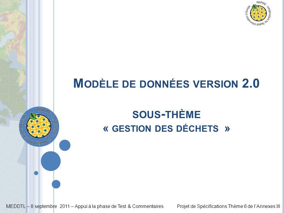MEDDTL – 8 septembre 2011 – Appui à la phase de Test & CommentairesProjet de Spécifications Thème 6 de lAnnexes III M ODÈLE DE DONNÉES VERSION 2.0 SOU