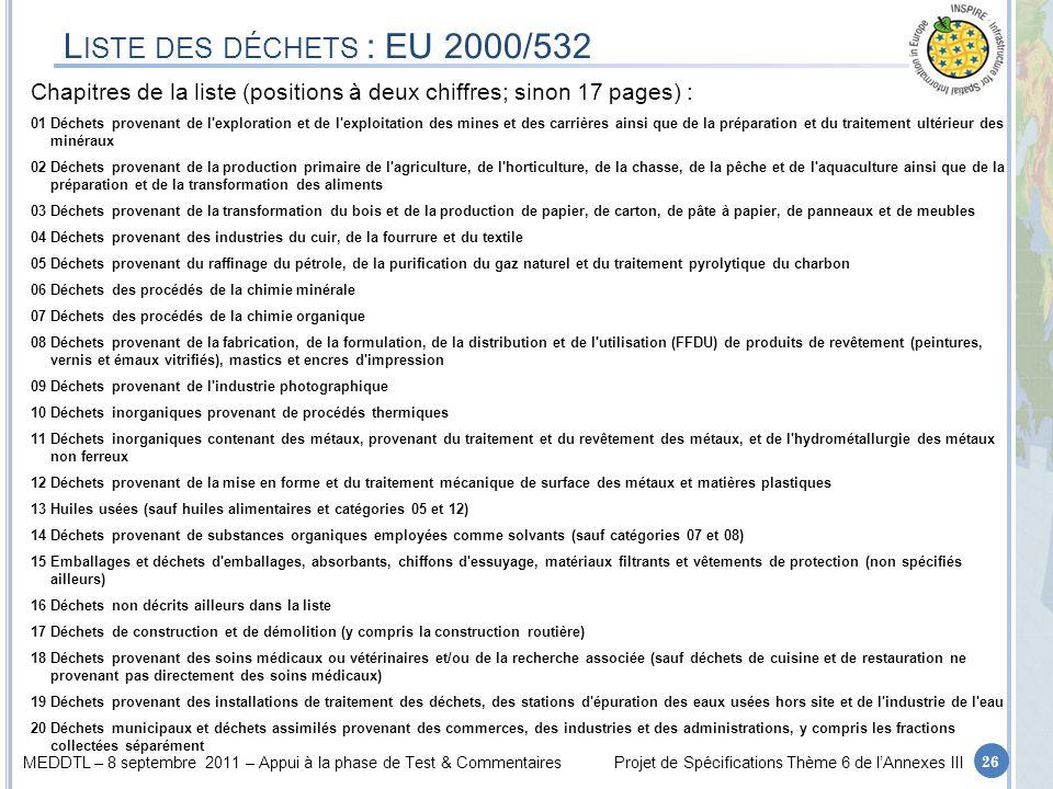 MEDDTL – 8 septembre 2011 – Appui à la phase de Test & CommentairesProjet de Spécifications Thème 6 de lAnnexes III L ISTE DES DÉCHETS : EU 2000/532 C
