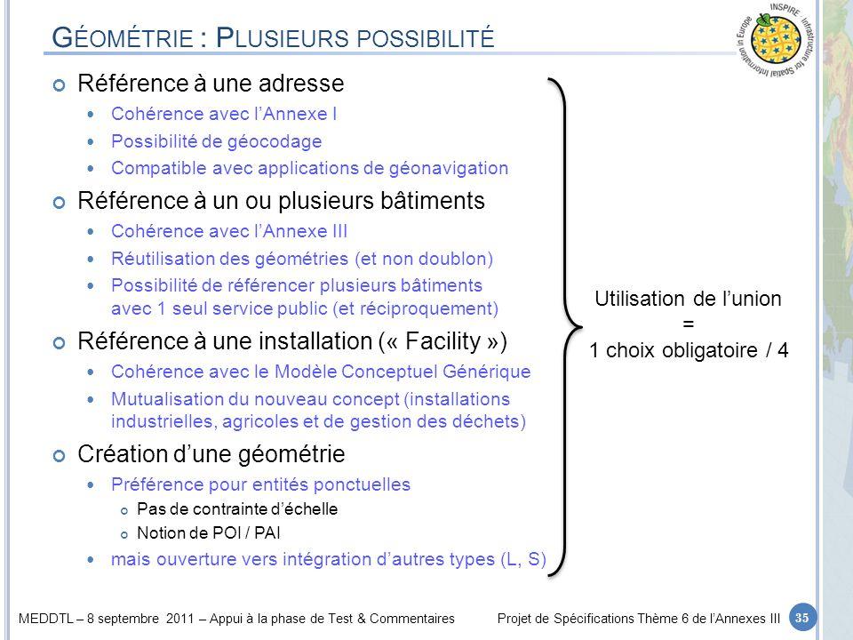 MEDDTL – 8 septembre 2011 – Appui à la phase de Test & CommentairesProjet de Spécifications Thème 6 de lAnnexes III G ÉOMÉTRIE : P LUSIEURS POSSIBILIT
