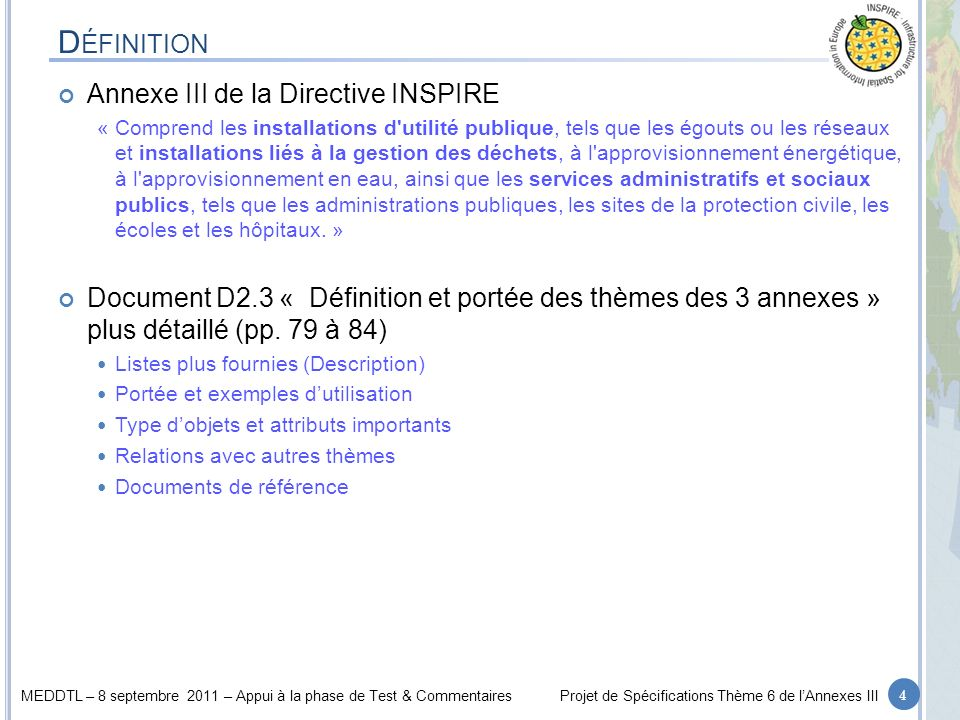 MEDDTL – 8 septembre 2011 – Appui à la phase de Test & CommentairesProjet de Spécifications Thème 6 de lAnnexes III L ISTE DE VALEURS : NACE Nomenclature statistique des activités économiques : 25 A – Agriculture, forestry and fishing … B – Mining and quarrying … C – Manufacturing … D – Electricity, gas, steam and air conditioning supply D35 - Electricity, gas, steam and air conditioning supply D35.1 - Electric power generation, transmission and distribution D35.1.1 - Production of electricity D35.1.2 - Transmission of electricity D35.1.3 - Distribution of electricity D35.1.4 - Trade of electricity D35.2 - Manufacture of gas; distribution of gaseous fuels through mains D35.2.1 - Manufacture of gas D35.2.2 - Distribution of gaseous fuels through mains D35.2.3 - Trade of gas through mains D35.3 - Steam and air conditioning supply D35.3.0 - Steam and air conditioning supply E – Water supply; sewerage; waste management and remediation activities E36 - Water collection, treatment and supply E36.0 - Water collection, treatment and supply E36.0.0 - Water collection, treatment and supply E37 - Sewerage E37.0 - Sewerage E37.0.0 - Sewerage E38 - Waste collection, treatment and disposal activities; materials recovery E38.1 - Waste collection E38.1.1 - Collection of non-hazardous waste E38.1.2 - Collection of hazardous waste E38.2 - Waste treatment and disposal E38.2.1 - Treatment and disposal of non-hazardous waste E38.2.2 - Treatment and disposal of hazardous waste E38.3 - Materials recovery E38.3.1 - Dismantling of wrecks E38.3.2 - Recovery of sorted materials E39 - Remediation activities and other waste management services E39.0 - Remediation activities and other waste management services E39.0.0 - Remediation activities and other waste management services F – Construction G – Wholesale and retail trade; repair of motor vehicles and motorcycles H – Transporting and storage I – Accommodation and food service activities J – Information and communication K – Financial and insu