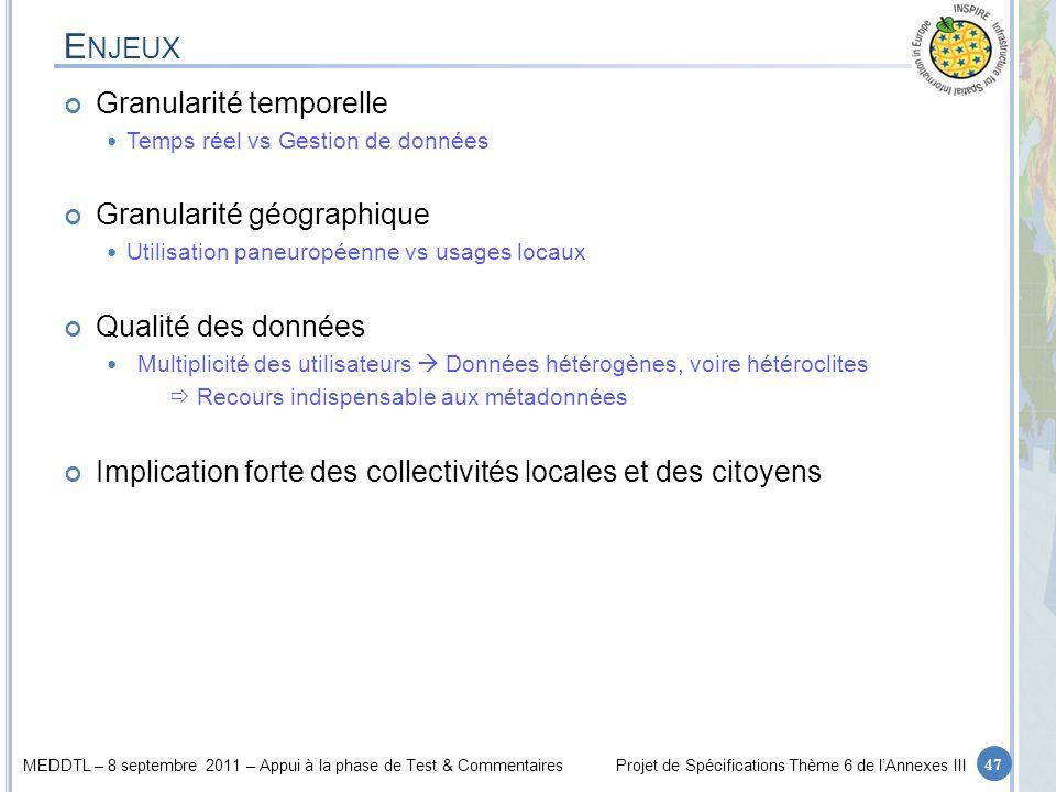MEDDTL – 8 septembre 2011 – Appui à la phase de Test & CommentairesProjet de Spécifications Thème 6 de lAnnexes III E NJEUX Granularité temporelle Tem