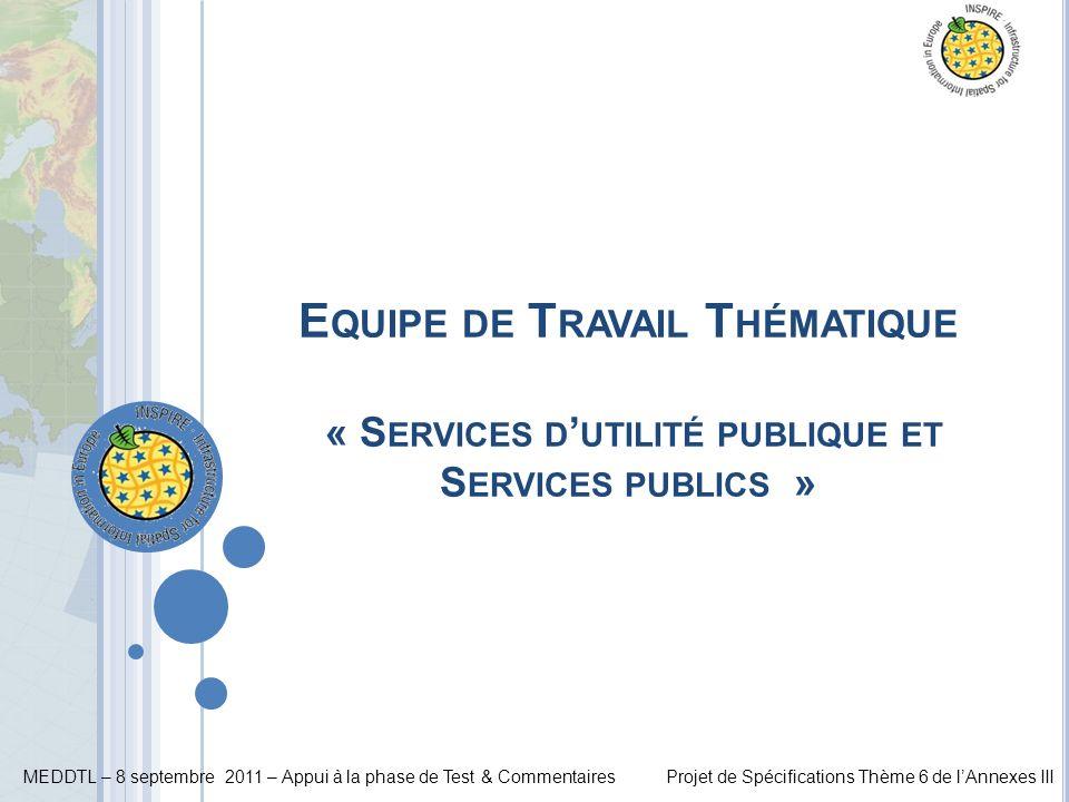MEDDTL – 8 septembre 2011 – Appui à la phase de Test & CommentairesProjet de Spécifications Thème 6 de lAnnexes III E QUIPE DE T RAVAIL T HÉMATIQUE «