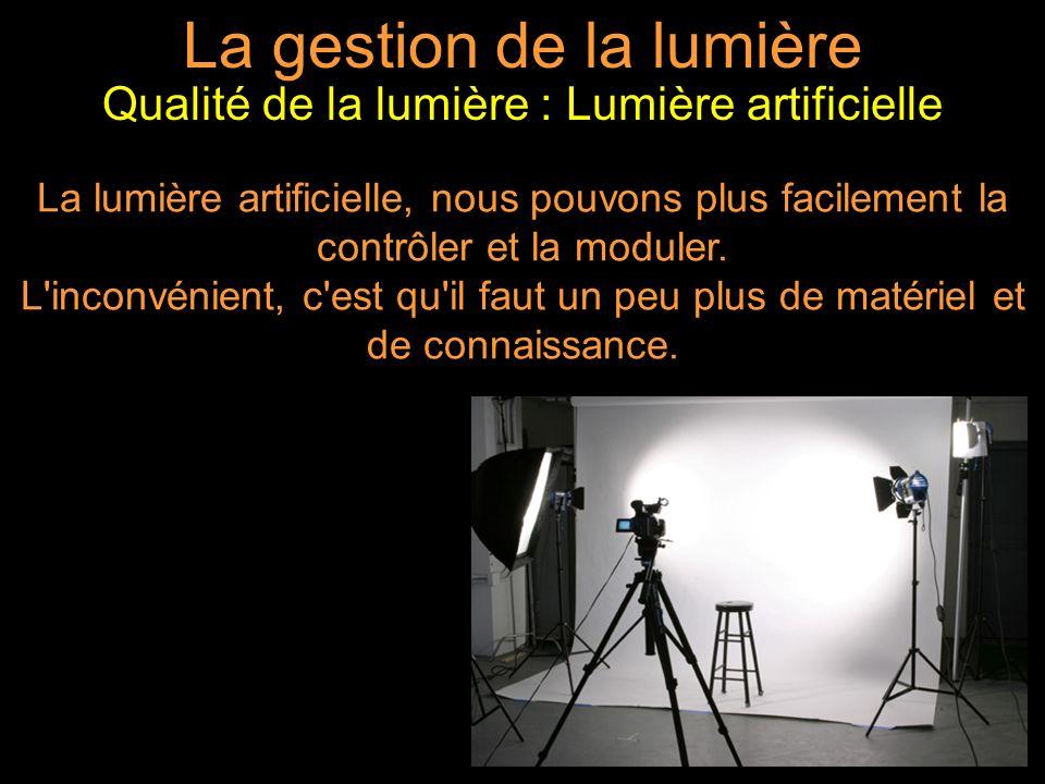 La gestion de la lumière La lumière artificielle, nous pouvons plus facilement la contrôler et la moduler.