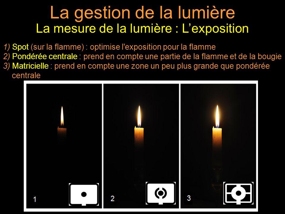 La gestion de la lumière La mesure de la lumière : Lexposition 1) Spot (sur la flamme) : optimise l exposition pour la flamme 2) Pondérée centrale : prend en compte une partie de la flamme et de la bougie 3) Matricielle : prend en compte une zone un peu plus grande que pondérée centrale