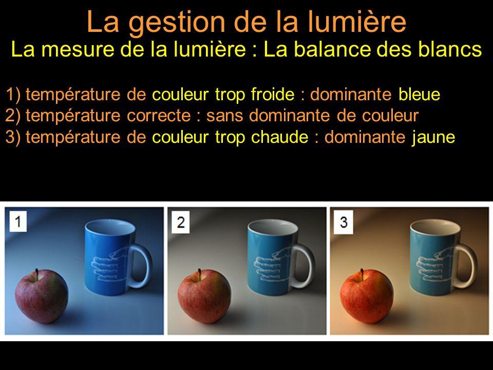 La gestion de la lumière La mesure de la lumière : La balance des blancs 1) température de couleur trop froide : dominante bleue 2) température correcte : sans dominante de couleur 3) température de couleur trop chaude : dominante jaune