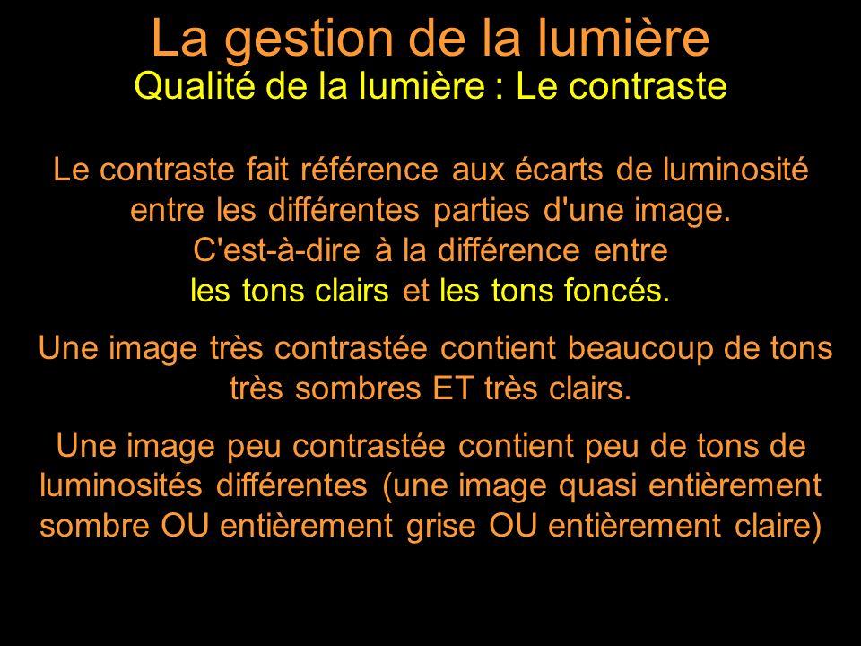 Le contraste fait référence aux écarts de luminosité entre les différentes parties d une image.