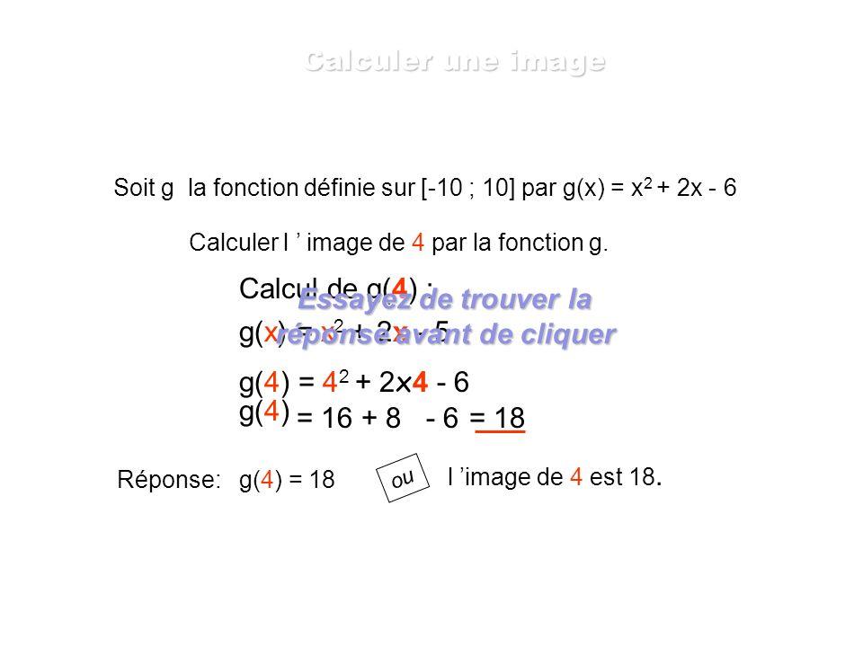 Soit f la fonction définie sur [-1,2 ; 2,2] par f(x) = x 2 - 1. Calculer l image de -1,1. f(x) = x 2 - 1 f(-1,1) = (-1,1) 2 - 1 = 1,21 - 1 = 0,21 f(-1