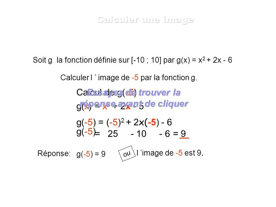 Soit g la fonction définie sur [-10 ; 10] par g(x) = x 2 + 2x - 6 Calculer l image de 4 par la fonction g. g(x) = x 2 + 2x - 5 g(4) = 4 2 + 2x4 - 6 =