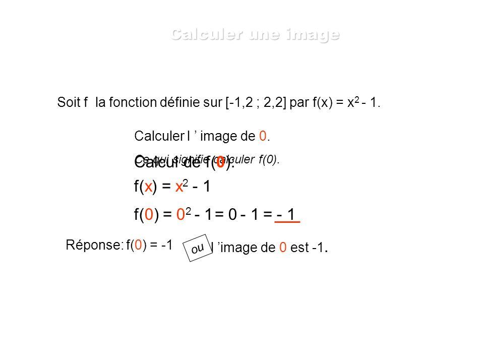 Soit f la fonction définie sur [-1,2 ; 2,2] par f(x) = x 2 - 1. Ce qui signifie que l on va calculer des images pour les valeurs de « x » comprises en