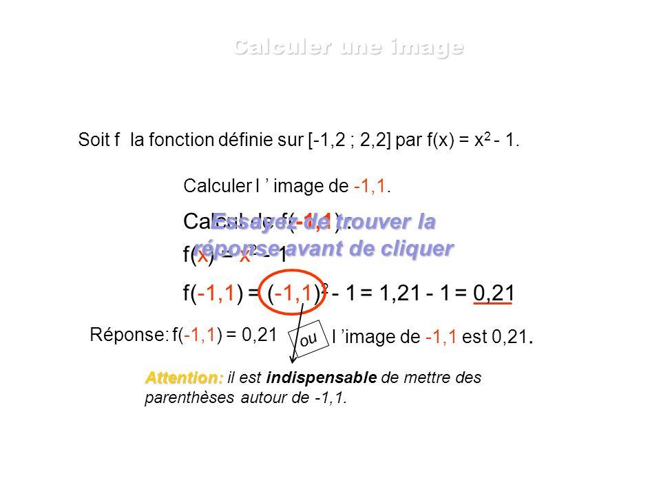 Soit f la fonction définie sur [-1,2 ; 2,2] par f(x) = x 2 - 1. Calculer l image de 1,3. f(x) = x 2 - 1 f(1,3) = 1,3 2 - 1= 1,69 - 1= 0,69 f(1,3) = 0,