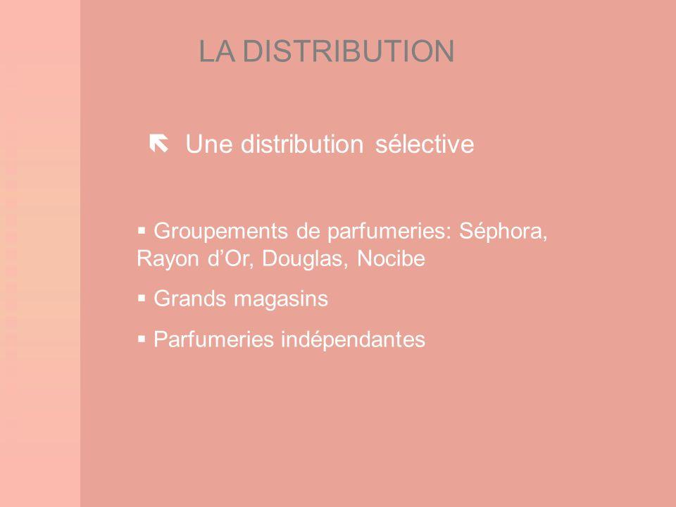 LA DISTRIBUTION Groupements de parfumeries: Séphora, Rayon dOr, Douglas, Nocibe Grands magasins Parfumeries indépendantes Une distribution sélective