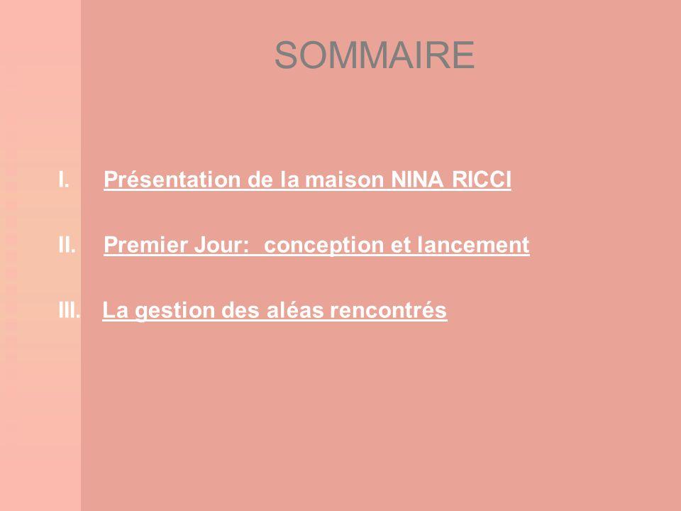 SOMMAIRE I.Présentation de la maison NINA RICCI II.Premier Jour: conception et lancement III. La gestion des aléas rencontrés