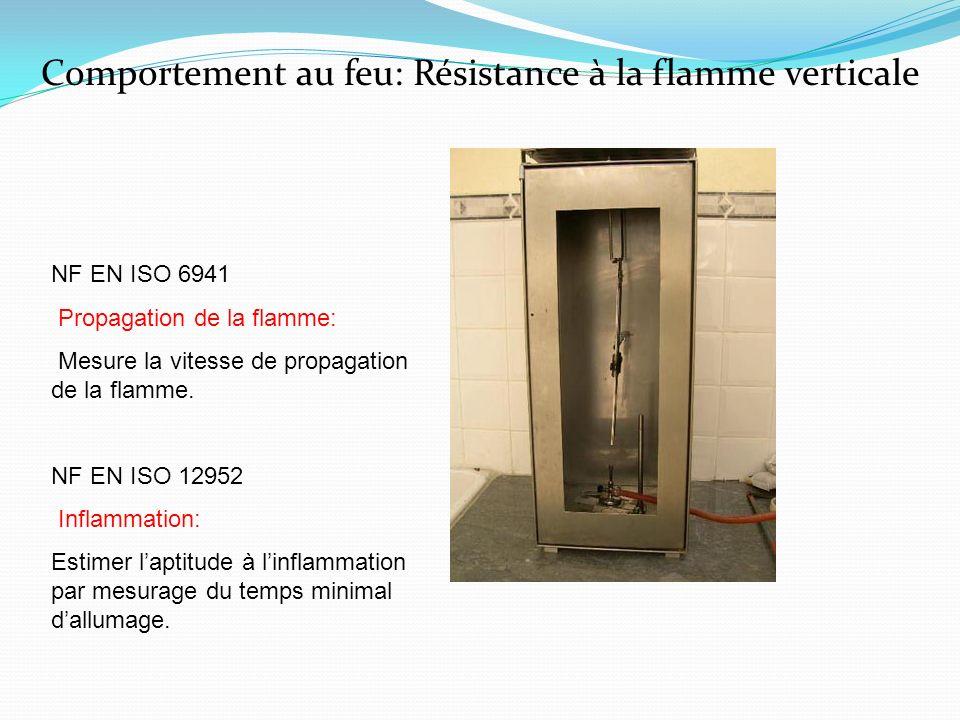Comportement au feu: Résistance à la flamme verticale NF EN ISO 6941 Propagation de la flamme: Mesure la vitesse de propagation de la flamme. NF EN IS