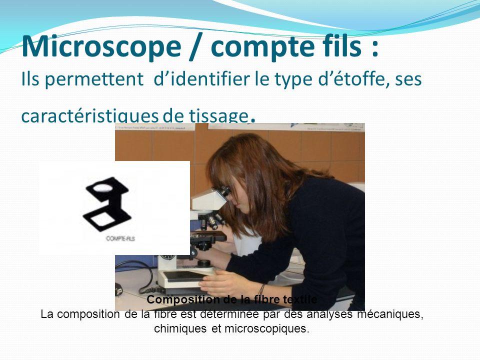 Microscope / compte fils : Ils permettent didentifier le type détoffe, ses caractéristiques de tissage. Composition de la fibre textile La composition